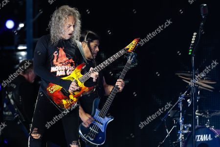 US heavy metal Metallica's guitarrist Kirk Hammett (L) and bass player Robert Trujillo (R) perform with the band at the Restelo Stadium in Lisbon, Portugal, 01 May 2019.