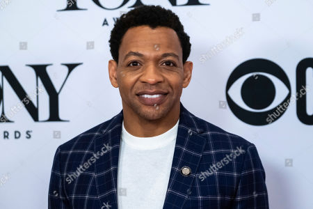 """Derrick Baskin participates in the 73rd annual Tony Awards """"Meet the Nominees"""" press day at the Sofitel New York, in new York"""