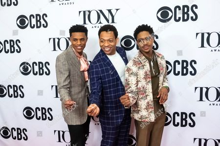 """Jeremy Pope, Derrick Baskin, Ephraim Sykes. Jeremy Pope, left, Derrick Baskin and Ephraim Sykes participate in the 73rd annual Tony Awards """"Meet the Nominees"""" press day at the Sofitel New York, in new York"""