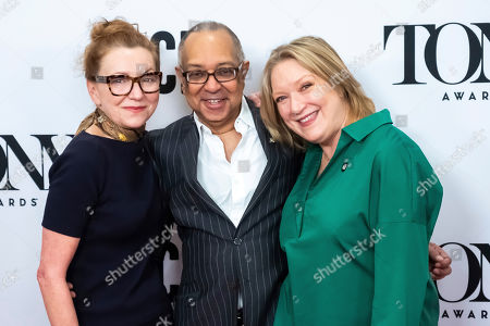 "Julie White, George C. Wolfe, Kristine Nielsen. Julie White, left, George C. Wolfe and Kristine Nielsen participate in the 73rd annual Tony Awards ""Meet the Nominees"" press day at the Sofitel New York, in new York"