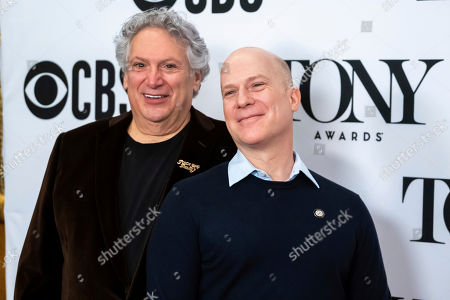 "Harvey Fierstein, Richie Jackson. Harvey Fierstein, left, and Richie Jackson participate in the 73rd annual Tony Awards ""Meet the Nominees"" press day at the Sofitel New York, in new York"