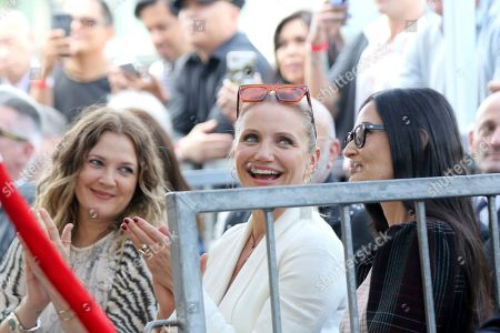 Drew Barrymore, Cameron Diaz, Demi Moore. Drew Barrymore, from left, Cameron Diaz and Demi Moore applaud at the ceremony honoring her with a star at the Hollywood Walk of Fame, in Los Angeles