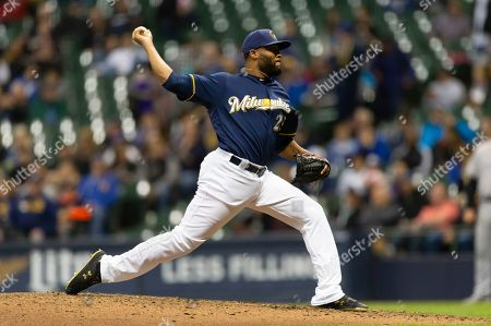 Milwaukee Brewers pitcher Jay Jackson #25 delivers a pitch during the Major League Baseball game between the Milwaukee Brewers and the Colorado Rockies at Miller Park in Milwaukee, WI