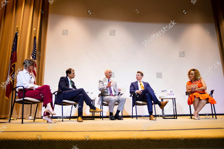 From left, former Deputy Attorney General Sally Yates, Clinical Psychologist Dr. Dorian Lamis, Grady Health System, Rev. Dr. Scott Weimer, North Avenue Presbyterian Church, Medical Director of Outpatient Services Dr. Ben Hunter, Skyland Trail, speak with veteran journalist Brenda Wood at the 2019 Dorothy C. Fuqua Lecture presented by Skyland Trail and Grady Health System on in Atlanta. This year's lecture focused on mental health and the path forward in suicide prevention