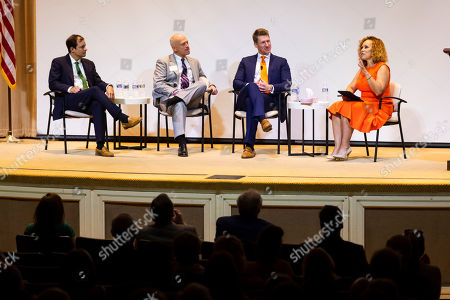 From left, Clinical Psychologist Dr. Dorian Lamis, Grady Health System, Rev. Dr. Scott Weimer, North Avenue Presbyterian Church, Medical Director of Outpatient Services Dr. Ben Hunter, Skyland Trail, speak with veteran journalist Brenda Wood at the 2019 Dorothy C. Fuqua Lecture presented by Skyland Trail and Grady Health System on in Atlanta. This year's lecture focused on mental health and the path forward in suicide prevention