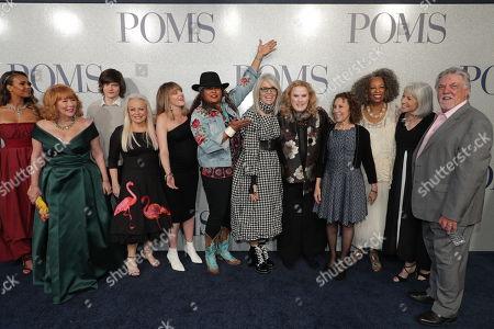 Cast of 'Poms' - Patti French, Charlie Tahan, Jacki Weaver, Zara Hayes, Pam Grier, Diane Keaton, Celia Weston, Rhea Perlman, Carol Sutton, Ginny MacColl and Bruce McGill