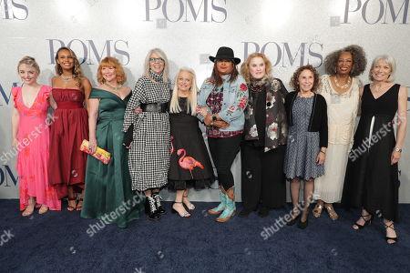 Cast of 'Poms' - Alexandra Ficken, Alisha Boe, Patti French, Diane Keaton, Jacki Weaver, Pam Grier, Celia Weston, Rhea Perlman, Carol Sutton and Ginny MacColl