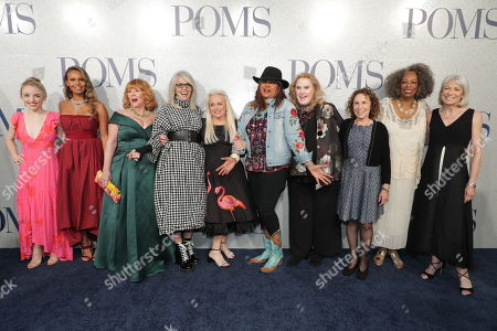 Cast of 'Poms' - Alexandra Ficken, Alisha Boe, Patti French, Diane Keaton, Jacki Weaver, Pam Grier, Celia Weston, Rhea Perlman, Carol Sutton and Ginny MacColl