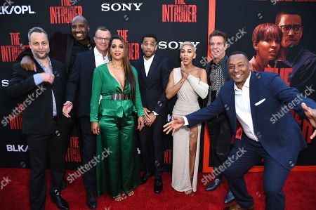 Stock Picture of Brad Kaplan, Ephraim Salaam, Mark Burg, Roxanne Avent, Michael Ealy, Meagan Good, Dennis Quaid and Deon Taylor