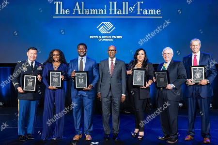 """Courtney B. Vance (center) welcomes Boys & Girls Clubs of America's newly inducted Alumni Hall of Fame members (pictured left to right) Colonel John Chu, Trinity """"Naomi"""" Fatu, LaDainian Tomlinson, Courtney B. Vance, Denise White, Joel Wernick and Tom Ehlmann during a special ceremony on in Houston"""