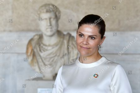 Crown Princess Victoria at Museum of the Ancient Agora in Athens where she will participate in the seminar 'Challenges and opportunities related to a new climate economy: driving innovation for sustainable development'
