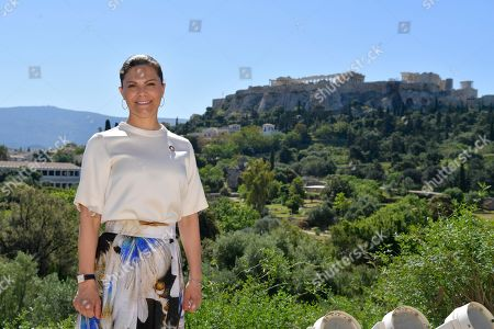 Crown Princess Victoria at Museum of the Ancient Agora in Athens with Acropolis rock in background where she will participate in the seminar 'Challenges and opportunities related to a new climate economy: driving innovation for sustainable development'