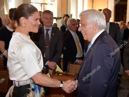 Crown Princess Victoria with President of Greece Prokopis Pavlopoulos during seminar 'Challenges and opportunities related to a new climate economy: driving innovation for sustainable development'