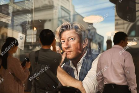 Stock Image of The hyperreal portrait by Perth artist Tessa MacKay of renowned actor and producer David Wenham, titled Through the looking glass, is seen after being named the Packing Room prize winner at the Art Gallery of NSW in Sydney, New South Wales (NSW), Australia, 02 May 2019.