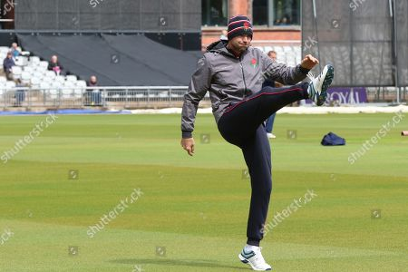 Lancashires James Anderson warms up before the Royal London 1 Day Cup match between Lancashire County Cricket Club and Derbyshire County Cricket Club at the Emirates, Old Trafford, Manchester