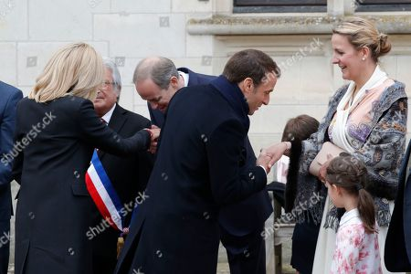Paris Count Jean d'Orleans, Princess Philomena, Prince Gaston and Princess Antoinette welcome French President Emmanuel Macron and his wife Brigitte Macron before a ceremony to commemorate the 500th anniversary of the death of Italian renaissance painter and scientist Leonardo da Vinci at the Chateau d'Amboise, France, 02 May 2019.
