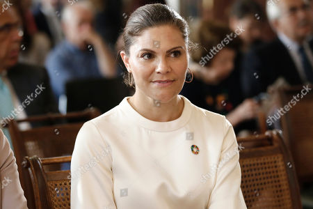 Sweden's Crown Princess Victoria attends an event titled 'Challenges and Opportunities Related to a New Climate Economy: Driving Innovation for Sustainable Development' at the Academy of Athens, in Athens, Greece, 02 May 2019.