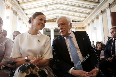 Sweden's Crown Princess Victoria (L) talks with Greek President Prokopis Pavlopoulos (R) as they attend an event titled 'Challenges and Opportunities Related to a New Climate Economy: Driving Innovation for Sustainable Development' at the Academy of Athens, in Athens, Greece, 02 May 2019.