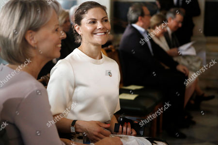 Sweden's Crown Princess Victoria (C) attends an event titled 'Challenges and Opportunities Related to a New Climate Economy: Driving Innovation for Sustainable Development' at the Academy of Athens, in Athens, Greece, 02 May 2019.