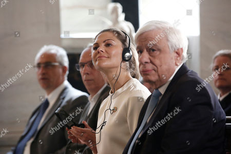 Sweden's Crown Princess Victoria (C) and Greek President Prokopis Pavlopoulos (R) attend an event titled 'Challenges and Opportunities Related to a New Climate Economy: Driving Innovation for Sustainable Development' at the Academy of Athens, in Athens, Greece, 02 May 2019.