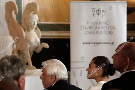Stock Image of Sweden's Crown Princess Victoria (2-R) and Greek President Prokopis Pavlopoulos (2-L) attend an event titled 'Challenges and Opportunities Related to a New Climate Economy: Driving Innovation for Sustainable Development' at the Academy of Athens, in Athens, Greece, 02 May 2019.