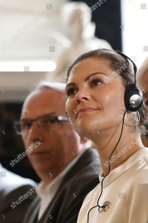 Sweden's Crown Princess Victoria (R) attends an event titled 'Challenges and Opportunities Related to a New Climate Economy: Driving Innovation for Sustainable Development' at the Academy of Athens, in Athens, Greece, 02 May 2019.