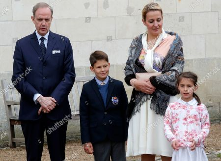 Jean d'Orleans, Count of Paris (L), his wife Princess Philomena (2-R), and children Prince Gaston (2-L) and Princess Antoinette (R) before a ceremony to commemorate the 500th anniversary of the death of Italian Renaissance painter and scientist Leonardo da Vinci at the Chateau d'Amboise, in Amboise, France, 02 May 2019.