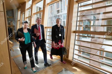 Scottish Parliament First Minister's Questions - Monica Lennon, Richard Leonard, Leader of the Scottish Labour Party, and Claudia Beamish make their way to the Debating Chamber.