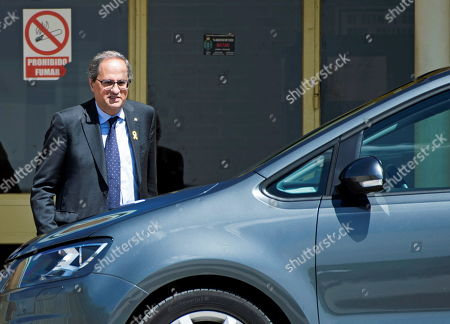 Catalan regional President, Quim Torra, leaves Soto del Real prison after visiting imprisoned pro-independent leaders, in Madrid, Spain, 01 May 2019. Pro-independent leaders Oriol Junqueras, Jordi Turull, Raul Romeva, Joaquim Forn, Jordi Cuixart and Jordi Sanchez remain in prison since they were arrested October-November 2017 after the illegal pro-independence referendum held 01 October 2017.