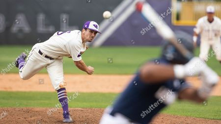 Stock Image of High Point's Joe Johnson (15) pitches during an NCAA college baseball game, in High Point, N.C