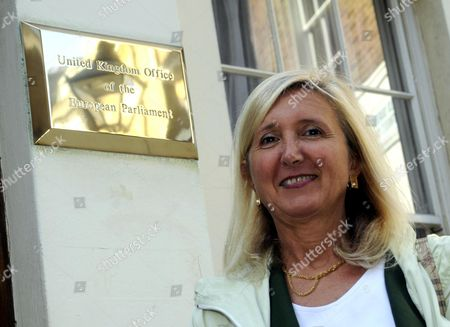 Stock Picture of Marta Andreasen UKIP MEP outside the London office of the European Parliament