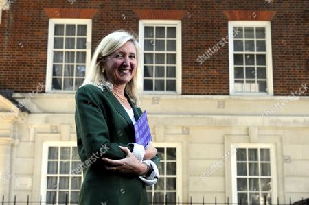 Stock Image of Marta Andreasen UKIP MEP outside 32 Smith Square, London