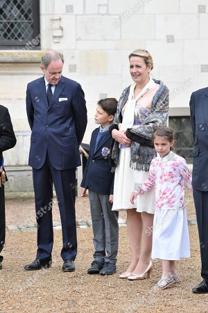 Prince Henri d'Orleans, Jean of Orleans, Micaela Cousino Quinones de Leon, Princess Philomena d'Orleans and their children, Prince Gaston d'Orleans and Princess Antoinette d'Orleans attend a ceremony to commemorate the 500th anniversary of the death of Italian renaissance painter and scientist Leonardo da Vinci at the Chateau d'Amboise May 2, 2019 in Amboise, France.