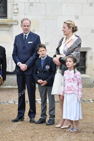 Prince Henri d'Orleans, Jean of Orleans, Micaela Cousino Quinones de Leon, Princess Philomena d'Orleans and their children, Prince Gaston d'Orleans and Princess Antoinette d'Orleans attend a ceremony to commemorate the 500th anniversary of the death of Italian renaissance painter and scientist Leonardo da Vinci at the Chateau d'Amboise May 2, 2019 in