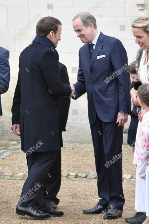 Prince Henri d'Orleans, Jean of Orleans welcomes French President Emmanuel Macron before a ceremony to commemorate the 500th anniversary of the death of Italian renaissance painter and scientist Leonardo da Vinci at the Chateau d'Amboise