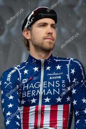 United States National Road Race Champion Jonathan Brown of Hagens Berman Axeon on stage for rider presentation before the start of the first stage of the Tour de Yorkshire from Doncaster to Selby, Doncaster