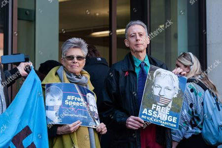 Human rights campaigner Peter Tatchell joined supporters of Julian Assange outside Westminster Magistrates Court.