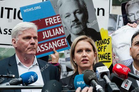 WikiLeaks editor Kristinn Hrafnsson and Jennifer Robinson, Julian Assange's UK lawyer make a statement outside Westminster Magistrate's Court