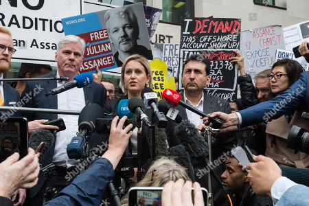 Stock Picture of WikiLeaks editor Kristinn Hrafnsson and Jennifer Robinson, Julian Assange's UK lawyer make a statement outside Westminster Magistrate's Court