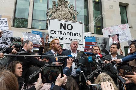 WikiLeaks editor Kristinn Hrafnsson and Jennifer Robinson, Julian Assange's UK lawyer make a statement outside Westminster Magistrate's Court.