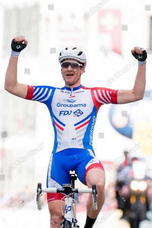 Stefan Kueng from Switzerland of team Groupama-FDJ celebrates after crossing the finish line to win the second stage of the 73th Tour de Romandie UCI ProTour cycling race, over 174,4 km between Le Locle and Morges, Switzerland, 02 May 2019.