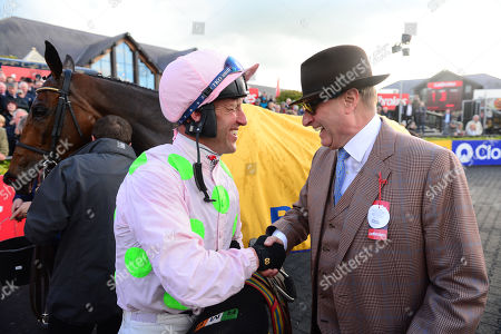 PUNCHESTOWN. CHACUN POUR SOI and Robert Power are greeted by owner RICH RICCI after their win for trainer Willie Mullins.