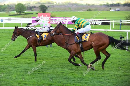 Punchestown CHACUN POUR SOI & Robert Power race away from the last to win the Grade 1 Ryanair Novice Steeplechase from DEFI DU SEUIL & Richard Johnson.