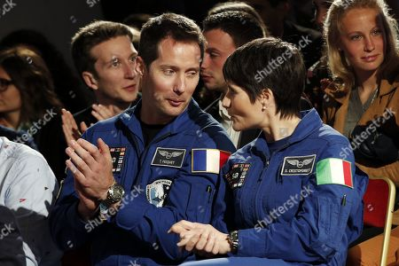 French astronaut Thomas Pesquet (L) and Italian astronaut Samantha Cristoforetti (R) attend an event to commemorate the 500th anniversary of the death of Italian Renaissance painter and scientist Leonardo da Vinci at the Chambord Castle, in Chambord, France, 02 May 2019.