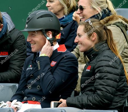 Oliver Townend relaxes in the stands after taking an early lead with a record Dressage scrore on 'Cillnabradden Evo'