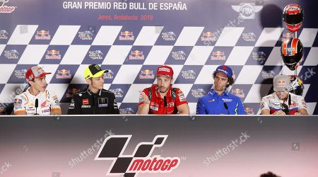 (L-R) Spanish rider Marc Marquez of Repsol, Italian riders Valentino Rossi of Monster Energy Yamaha and Andrea Dovicioso of Mission Winnow Ducati, Spanish rider Alex Rins of Team Suzuki Ecstarei and Australian rider Jack Miller of Pramac Racing speak during a press conference on occasion of the preparations for the Motorcycling Grand Prix of Spain 2019 at the Jerez racetrack in Jerez de la Frontera, southern Spain, 02 May 2019. The Motorcycling Grand Prix of Spain will take place on 05 May 2019.