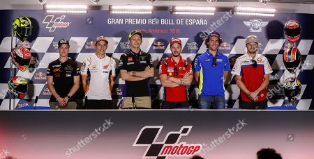 (L-R) Spanish rider Jaume Masia, countryman Marc Marquez of Repsol, Italian riders Valentino Rossi of Monster Energy Yamaha and Andrea Dovicioso of Mission Winnow Ducati, Spanish rider Alex Rins of Team Suzuki Ecstarei and Australian rider Jack Miller of Pramac Racing speak during a press conference on occasion of the preparations for the Motorcycling Grand Prix of Spain 2019 at the Jerez racetrack in Jerez de la Frontera, southern Spain, 02 May 2019. The Motorcycling Grand Prix of Spain will take place on 05 May 2019.