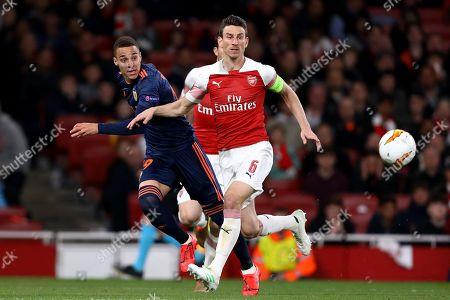 Laurent Koscielny of Arsenal and Rodrigo Moreno of Valencia - Arsenal v Valencia, UEFA Europa League Semi Final - 1st Leg, Emirates Stadium, London (Holloway) - 2nd May 2019