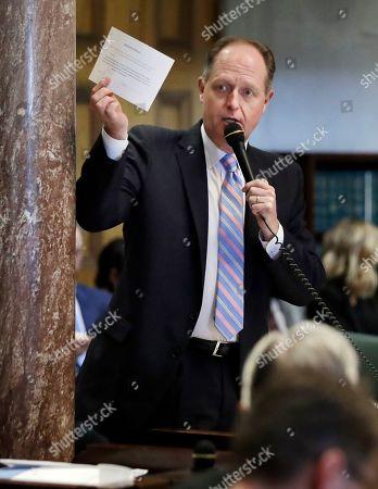 Stock Photo of State Sen. Jack Johnson, R-Franklin, speaks during a Senate session, in Nashville, Tenn