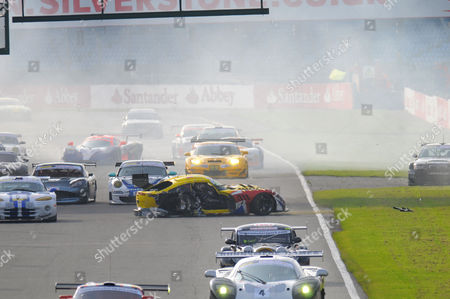 Andy Neate crashes his TVR Sagaris at Britcar 24 HR race, Siverstone, Northants